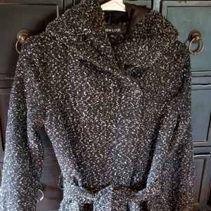 Womens tweed belted coat! With a hood!!